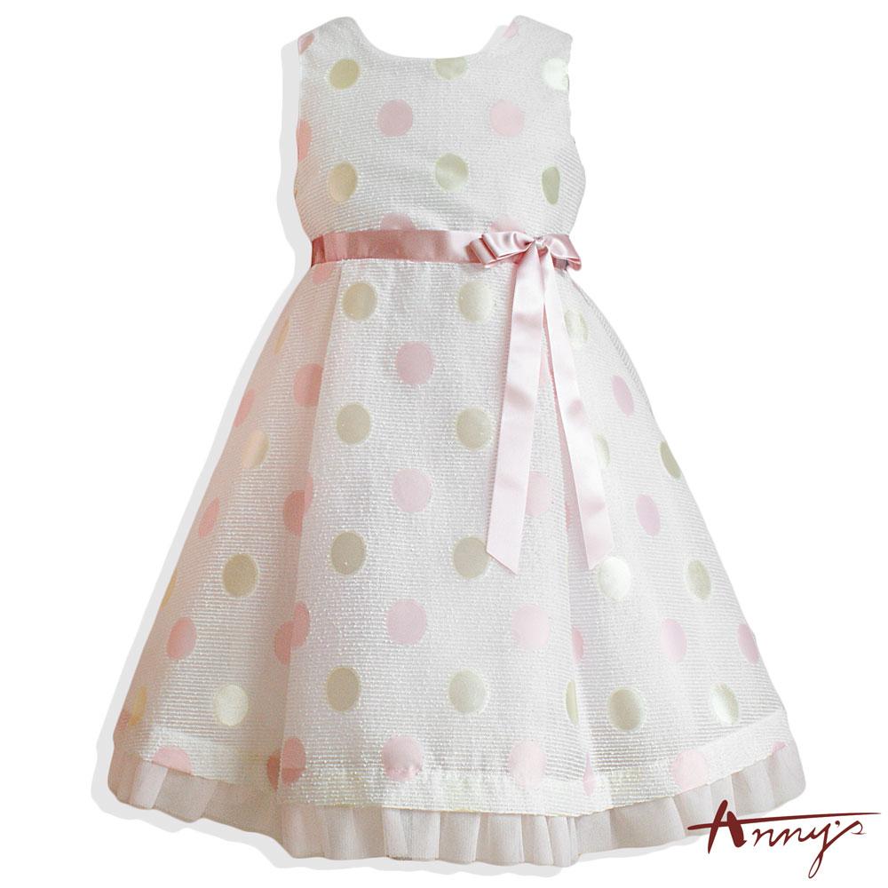 Annys繽紛普普系亮質大點點緞帶洋裝*6119粉
