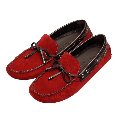 LV 443084 ARIZONA系列雙色絨面小牛皮縫線飾邊綁帶莫卡辛便鞋(紅-8號)