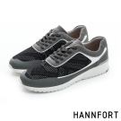 HANNFORT RS8格紋網布氣墊休閒鞋-男-炭石灰