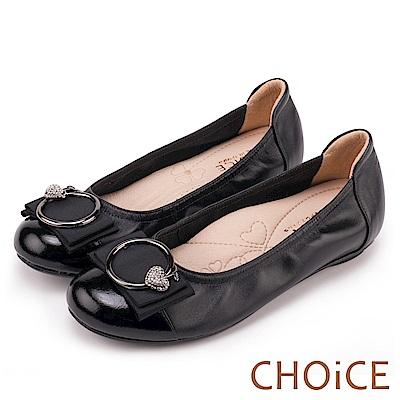 CHOiCE 舒適甜美 造型蘋果鑽飾平底娃娃鞋-黑色