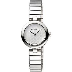 GUCCI Diamantissima 古馳菱格紋腕錶-白x銀/28mm