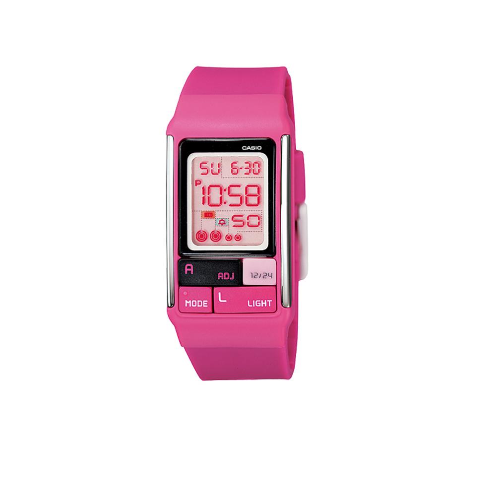 CASIO 新幾何積木方塊數字錶(LDF-52-4A)-桃紅/23.6mm