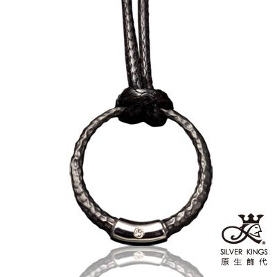 原生飾代SilverKings-極簡主義-316L白鋼墜+個性風黑牛皮繩