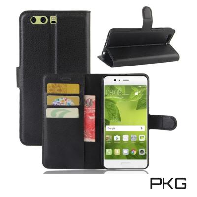 PKG 華為P10 PLUS 側翻式皮套經典皮革-黑色