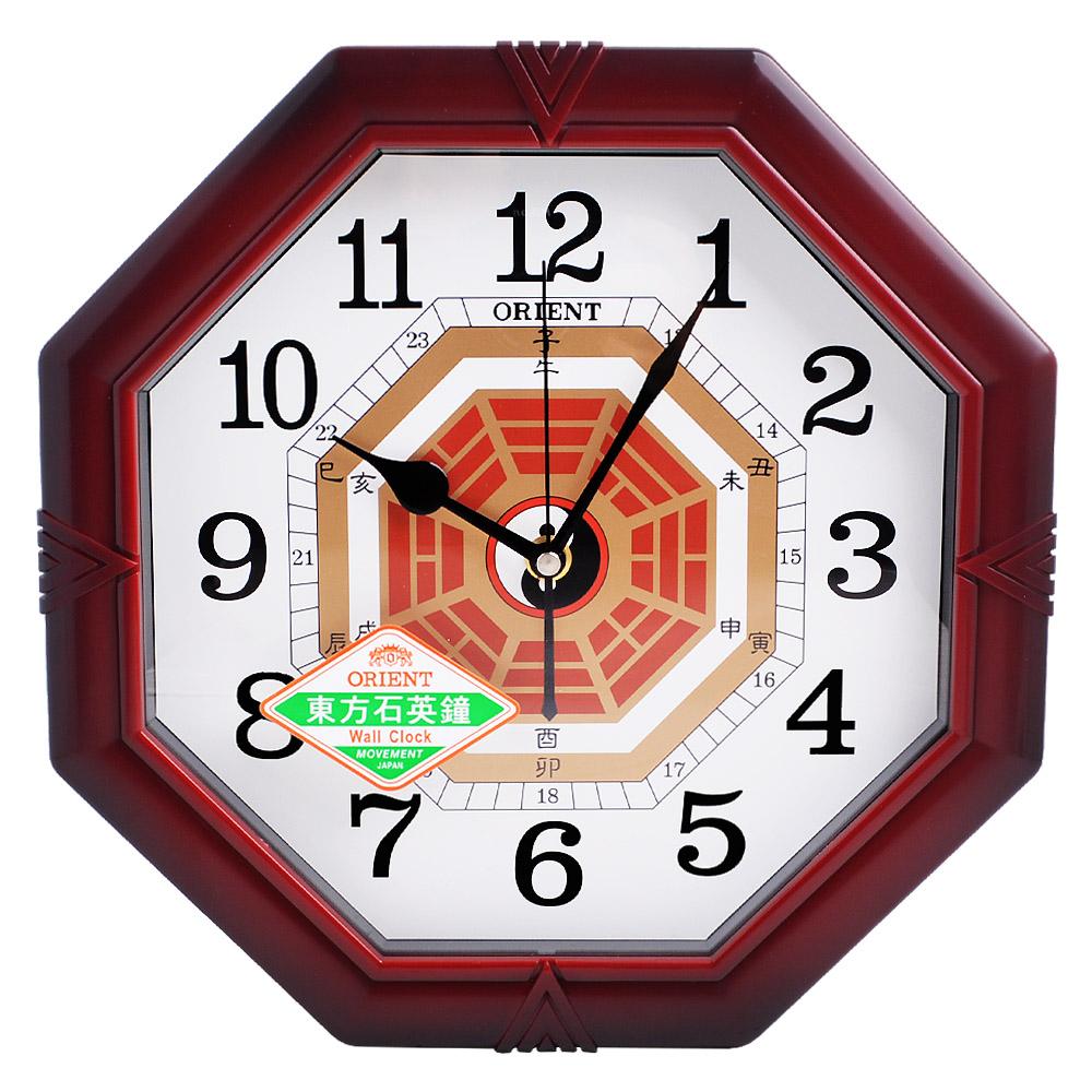 ORIENT東方錶 東方石英鐘 居家風水八卦造型 跳動式秒針 時鐘 掛鐘-30cm