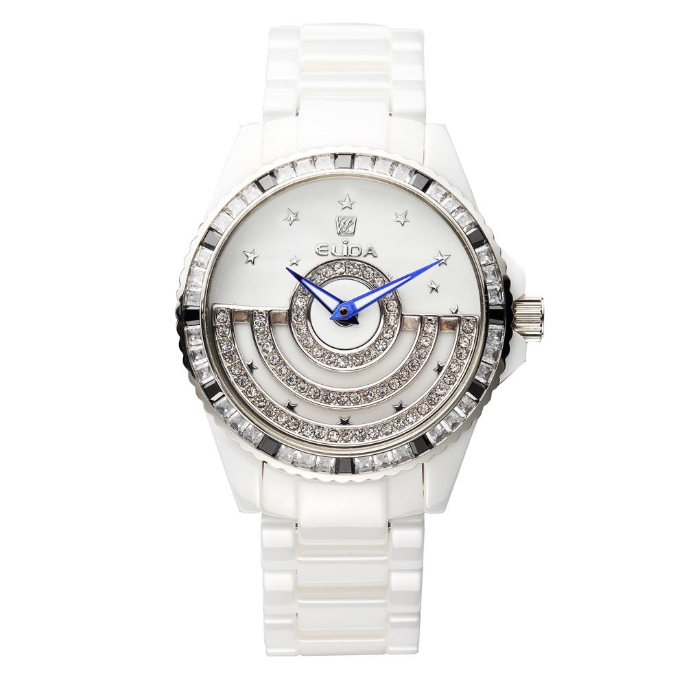 Elida 時來運轉系列 日月星辰晶鑽白陶瓷腕錶-42mm