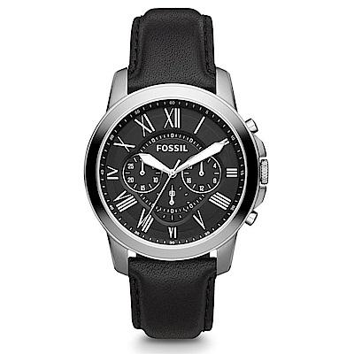 FOSSIL Grant 旗艦三眼計時復刻腕錶-黑/44mm
