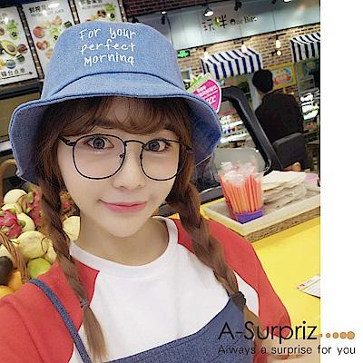 A-Surpriz 韓風英文字母漁夫帽(牛仔藍)