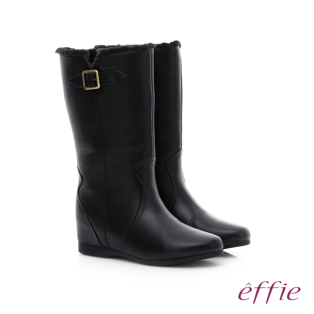effie 心機美型 真皮絨毛內增高奈米長靴 黑色
