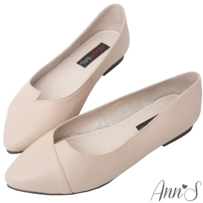 Ann'S簡約女子-V型拼接綿羊皮平底尖頭-杏