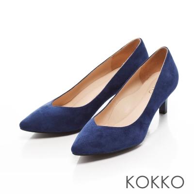 KOKKO-日本彎折工藝尖頭透氣真皮高跟鞋 - 海寶藍