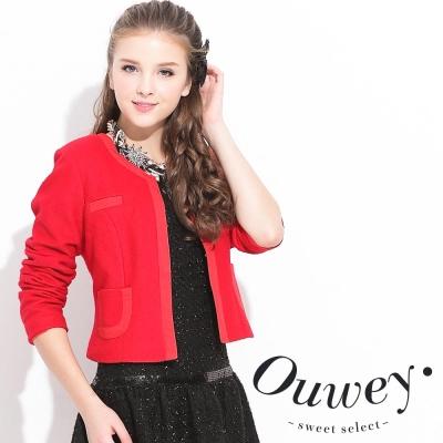 OUWEY歐薇-開襟無領短版外套-紅-黑