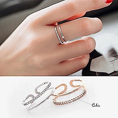 梨花HaNA 韓國925銀細鑽柔和雙層戒指