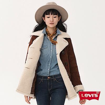 女裝 大衣 雙排扣 毛領內刷毛 - Levis