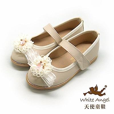 天使童鞋 歐風花園典雅公主鞋J8003-米