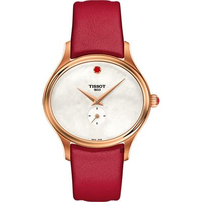 TISSOT 天梭 Bella Ora 臻時系列小秒針女錶-珍珠貝x玫瑰金框/31mm