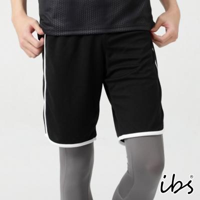 ibs幾何圖騰科技轉印剪接吸排短褲-男-黑