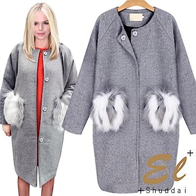 正韓 毛絨口袋絎縫釦式大衣-(灰色)El Shuddai