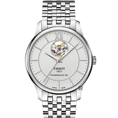 TISSOT 天梭 Tradition 80小時動力鏤空機械腕錶-銀/40mm