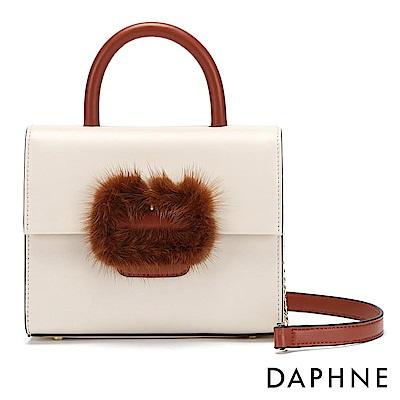 達芙妮DAPHNE-絨毛金屬鍊帶拼接手提側背兩用包-白
