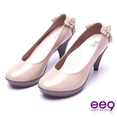 【ee9】典雅簡約素面閃耀鑲嵌亮鑽蝴蝶結高跟鞋*裸漆亮