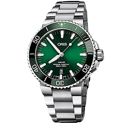 Oris豪利時 Aquis 時間之海潛水300米日期機械錶-綠水鬼x銀/43.5mm