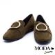 平底鞋 MODA Luxury 時尚個性金屬圓釦全真皮樂福鞋-綠 product thumbnail 1
