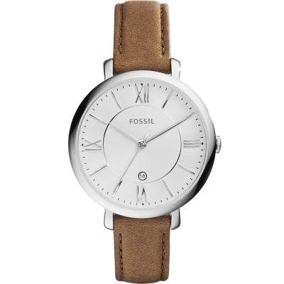 FOSSIL羅馬風尚優雅皮革腕錶-銀框x咖啡/36mm