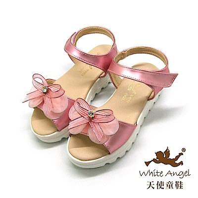 天使童鞋-J839 蝶戀花厚底涼鞋(中-大童)-粉