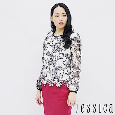 JESSICA-經典蕾絲簍空設計上衣