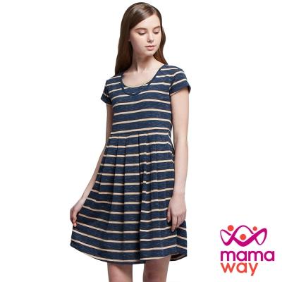 孕婦裝 哺乳衣 雙圓花紗條紋孕哺洋裝(共二色) Mamaway