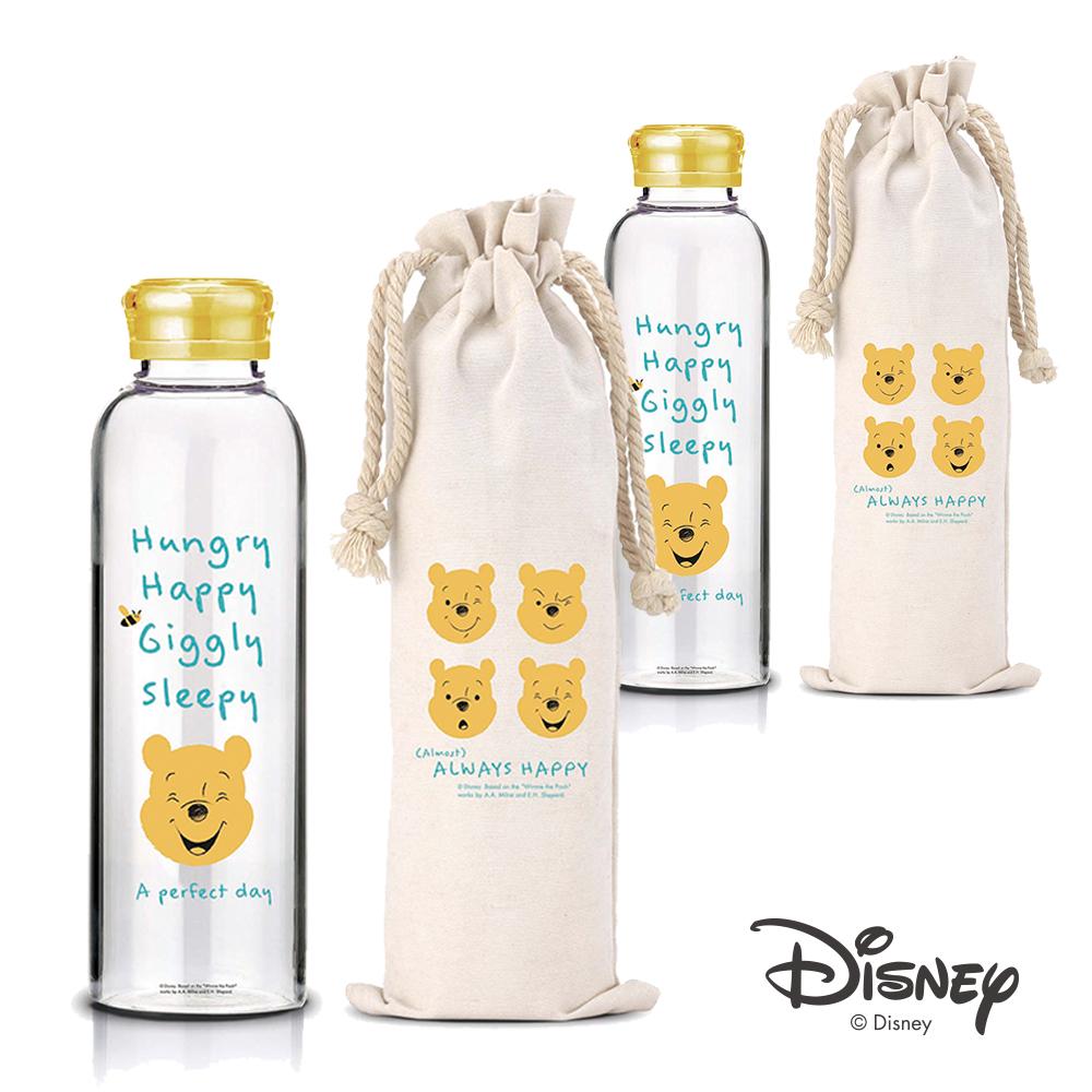 [買一送一] 迪士尼Disney 微笑維尼耐熱玻璃瓶袋組370ml(快)