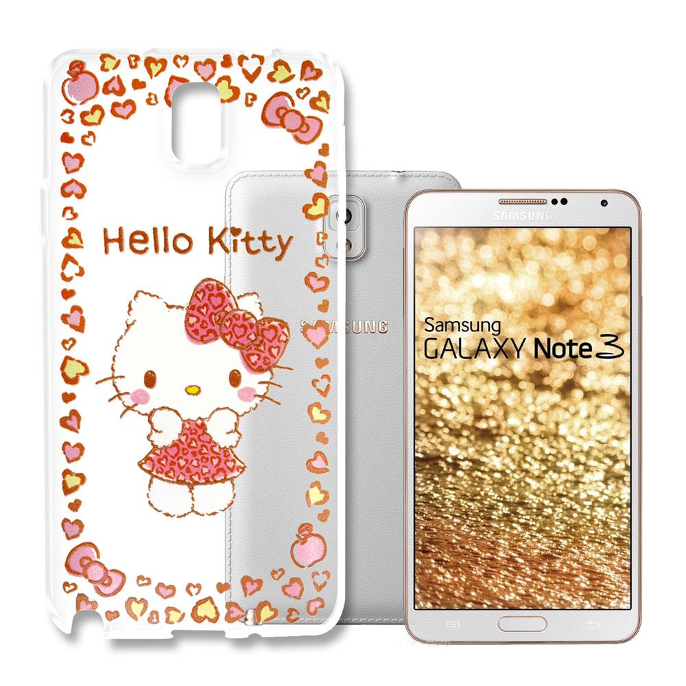 Hello Kitty 三星 Galaxy Note3 浮雕彩繪透明軟殼(甜心豹紋)