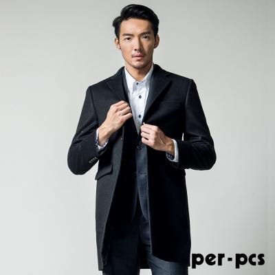 per-pcs 雅緻風尚硬挺修身毛料大衣_黑色( 817911 )
