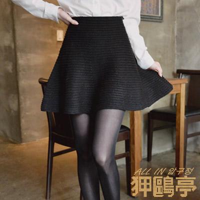 針織紋路波浪下襬短裙 (共二色)-ALL IN 狎鷗亭