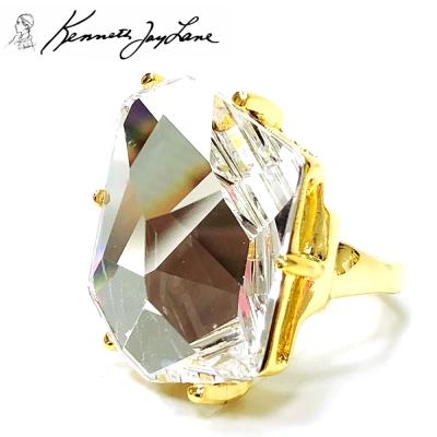 Kenneth Jay Lane 好萊塢巨星最愛 透明水晶戒指 寶石切割面 附原廠盒