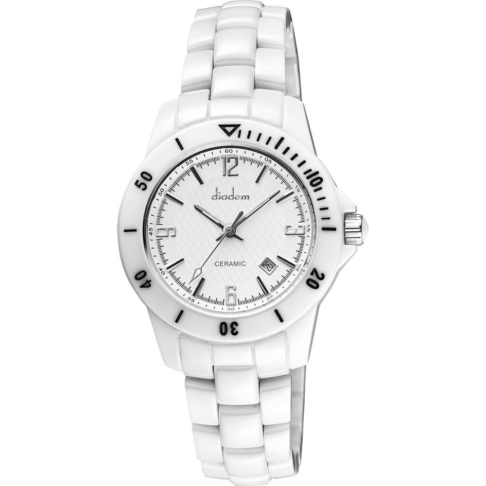 Diadem 黛亞登 菱格紋雅緻白陶瓷腕錶-銀/35mm