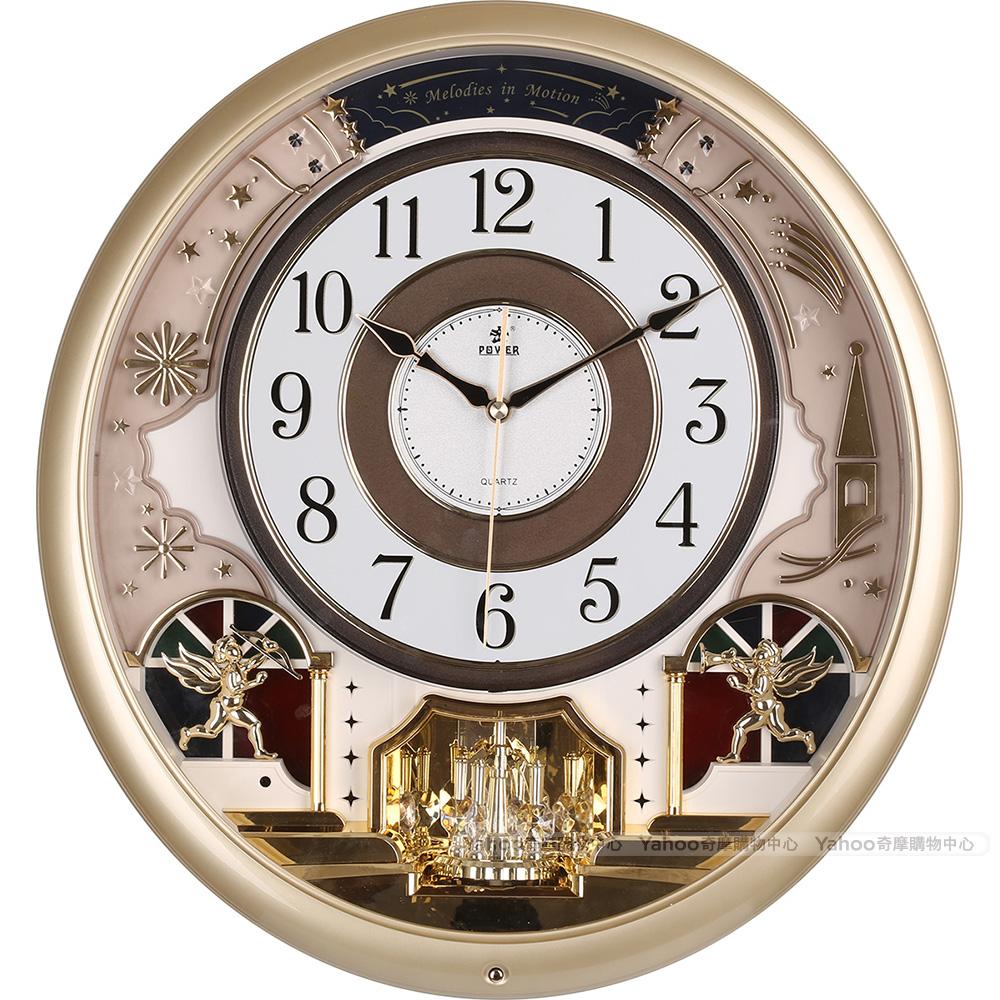 POWER霸王鐘錶-天使禮讚音樂掛鐘-香檳金-PW-6246-ARMKS-46.7CM
