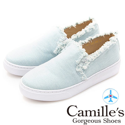 Camille's 韓國空運-抽鬚毛邊丹寧厚底懶人鞋-淺水藍
