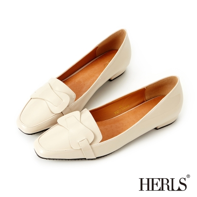 HERLS-內真皮氣質小方頭漆皮樂福鞋-米色