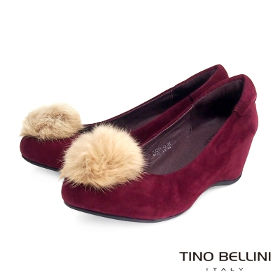 Tino Bellini 優雅氣質兔毛球內增高娃娃鞋_酒紅