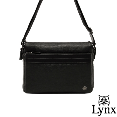 Lynx - 山貓真皮經典款極品型男橫式斜背包(小)-共2色