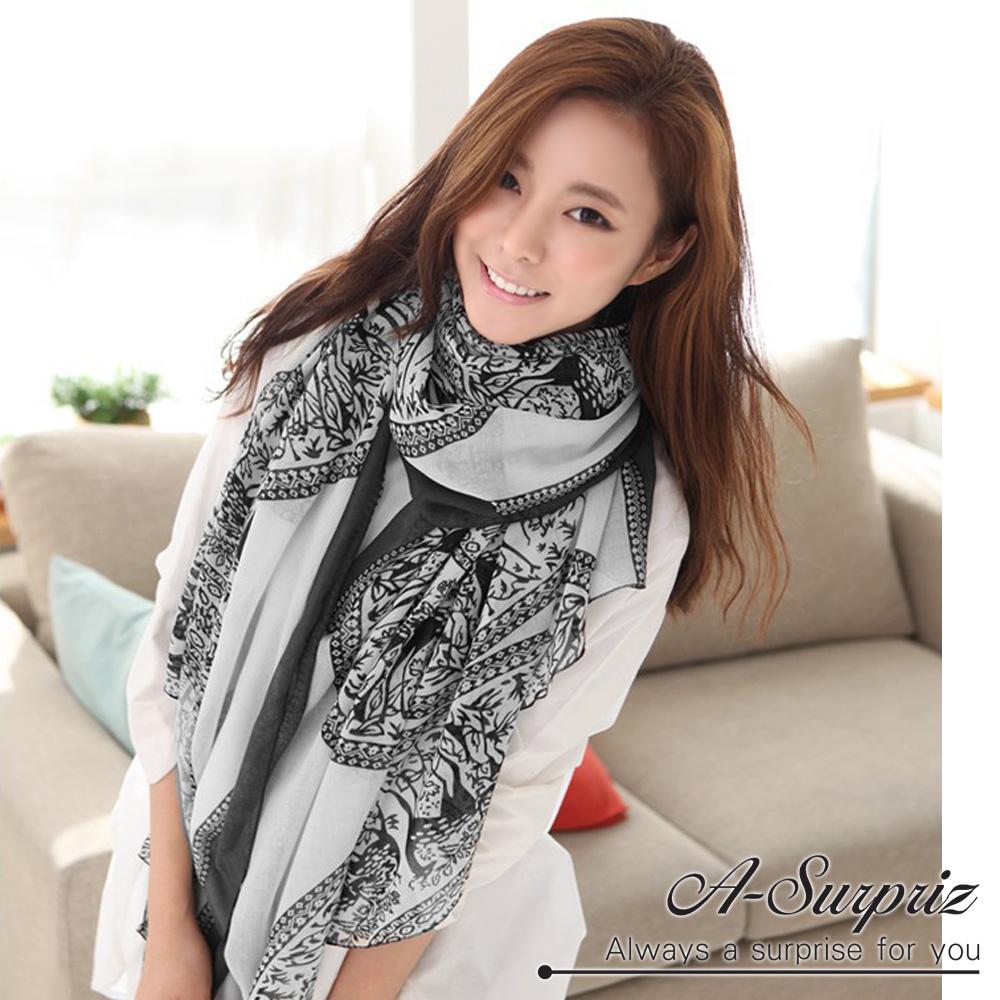 A-Surpriz 優雅復古麋鹿圖樣巴黎紗圍巾(氣質白)