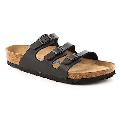 勃肯BIRKENSTOCK 053011。佛羅里達 三條復古拖鞋(黑)