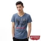 5th STREET T恤 骷髏海錨印刷V領T恤-男-土耳其藍
