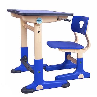 HangU兒童健康可調整全成長書桌椅-藍色