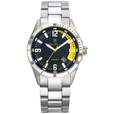 Olym Pianus奧柏表 酷炫時尚運動造型石英腕錶-黃/42mm