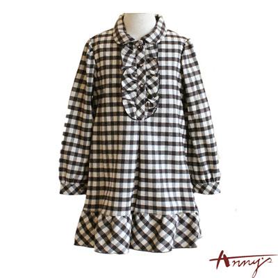 可愛荷葉格紋長袖洋裝*1256咖