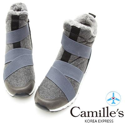 Camille's 韓國空運-正韓製-毛呢鬆緊帶拉鍊運動休閒鞋-灰色