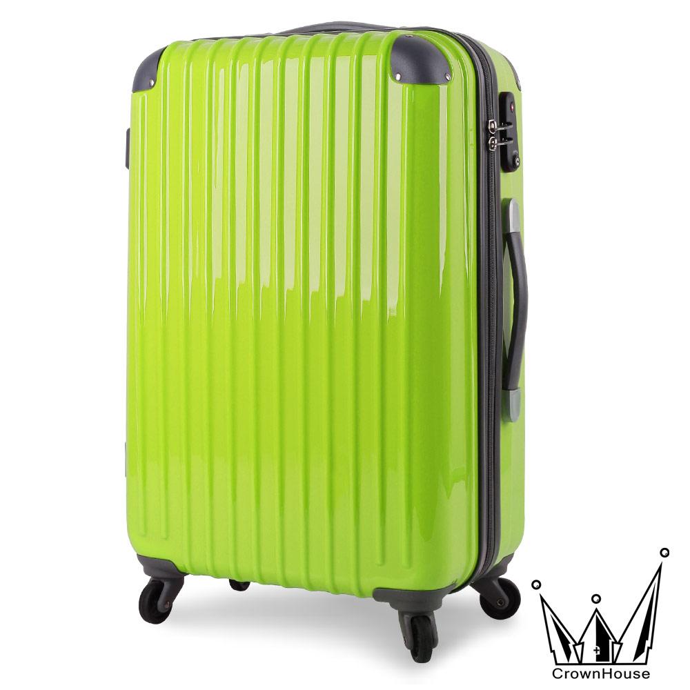 快速到貨【Crownhouse】升級版花漾鑽彩-24吋超輕量PC鏡面可加大行李箱(綠色)